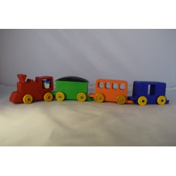Wooden train consisting of a locomotive and three carriages