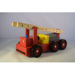 Wooden fire truck with removable ladder