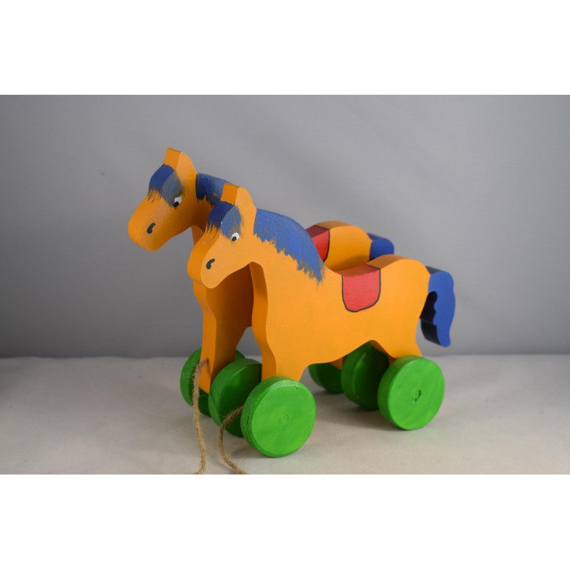 Pull along wooden horses