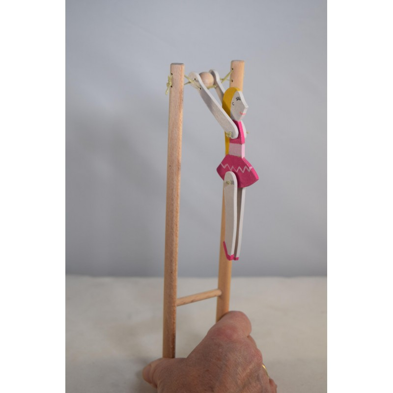 Wooden ballerina acrobat doll