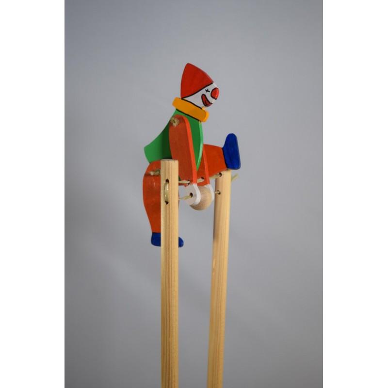 Wooden colourful clown acrobat