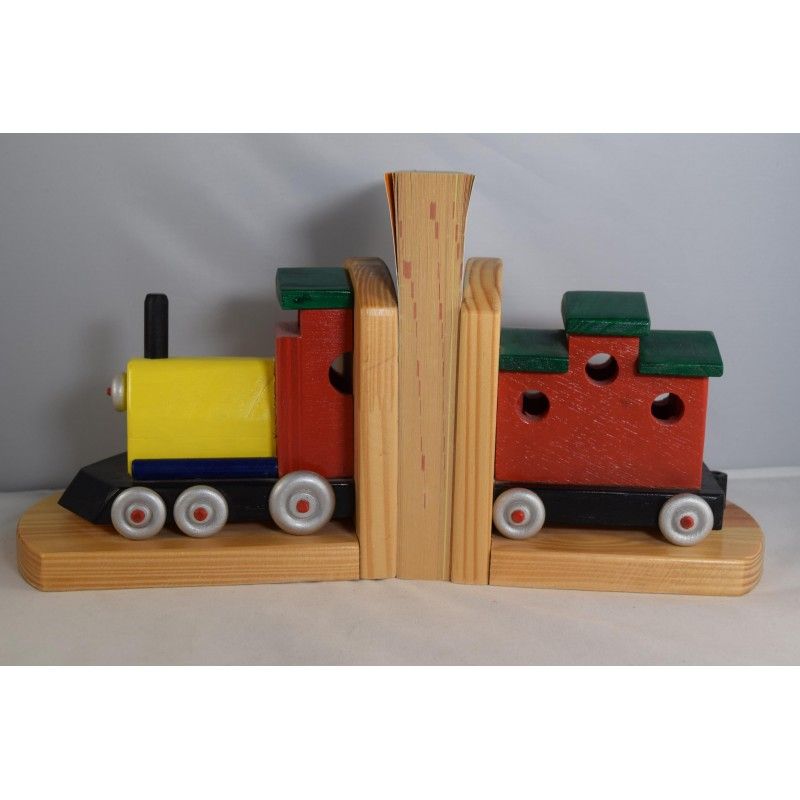 Wooden train bookends