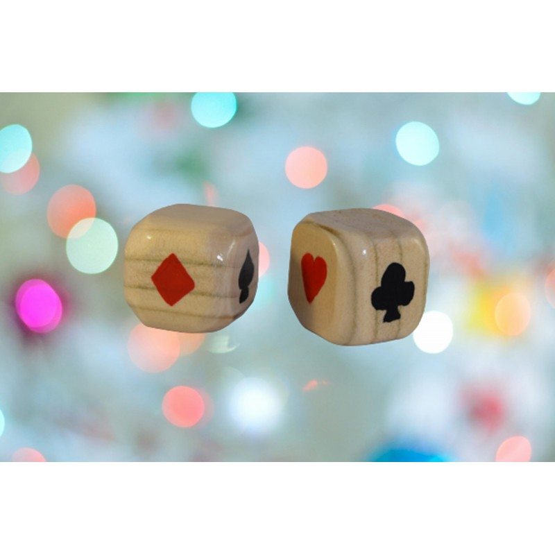 Wooden Dice with with Card Symbols (Spade, Club, Heart and Diamond)