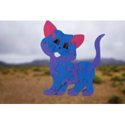 Brightly Coloured Adorable Wooden Cat Puzzle